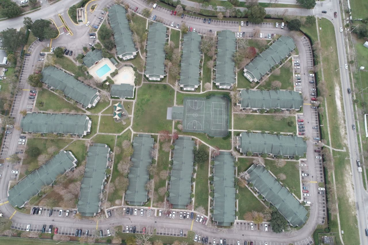 Timberleaf housing as viewed in full from overhead drone