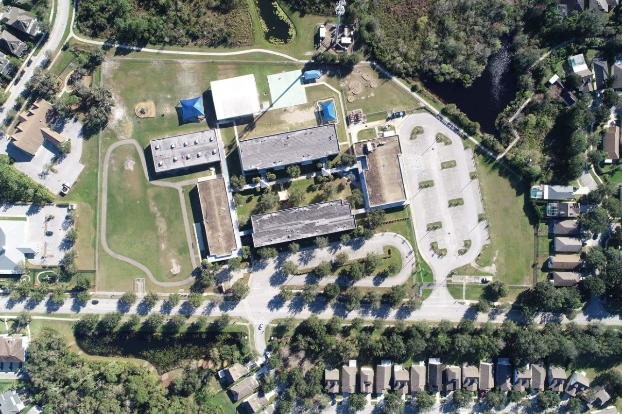 Fishhawk Elementary school as viewed overhead by a drone