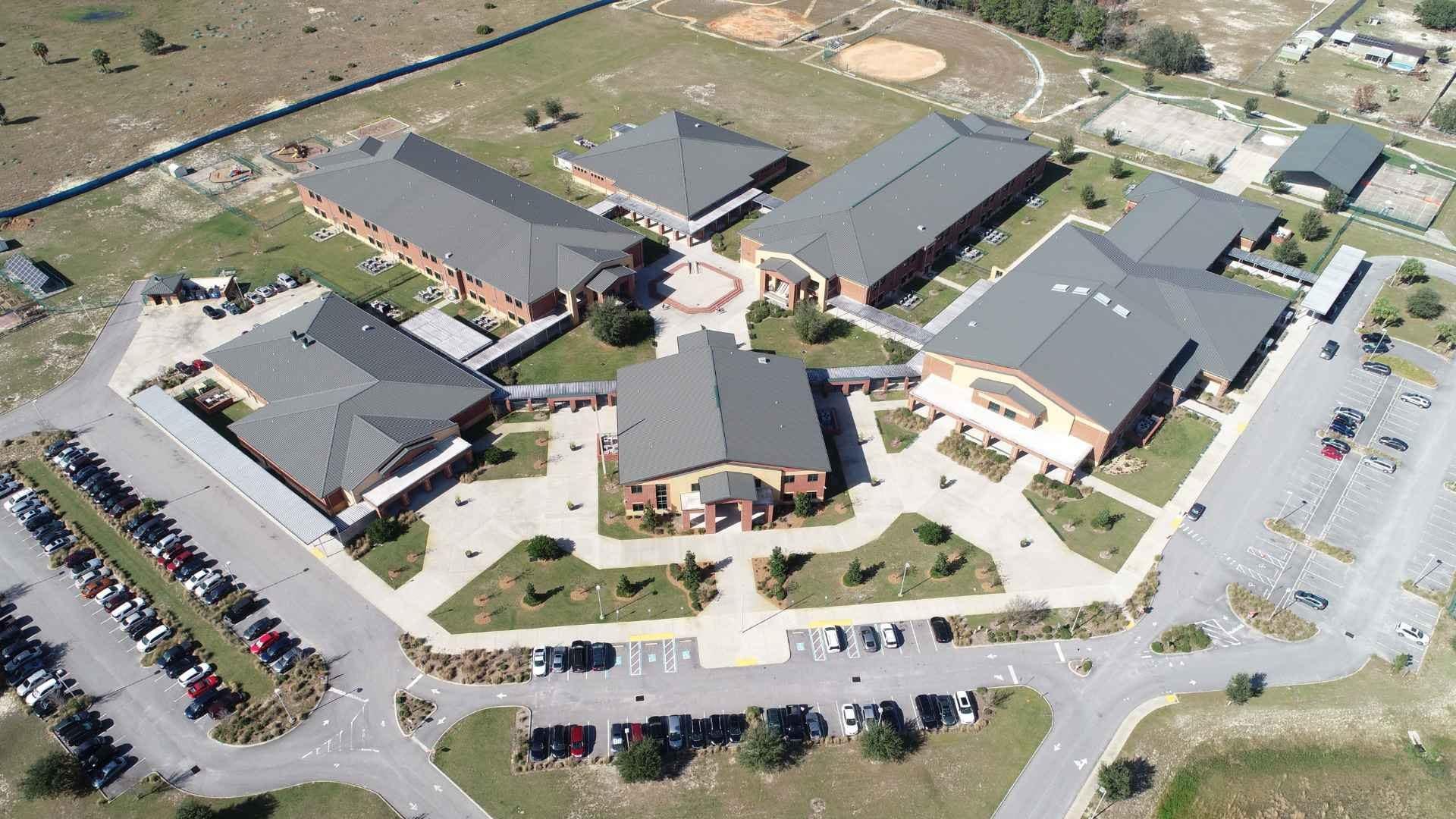 An overhead view of the Davenport School buildings