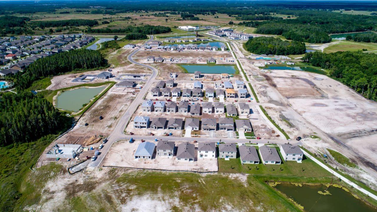 overhead drone imaging of Union Park civil engineering development site